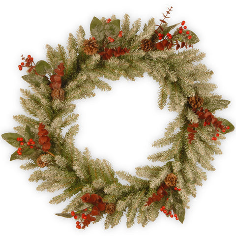 "National Tree DC3-183L-24W 24"" Decorative Collection Wreath with Frosted Tips, Pine Cones, Read Berries, Leaves & Brown Eucalyptus & 50 Clear Lights"
