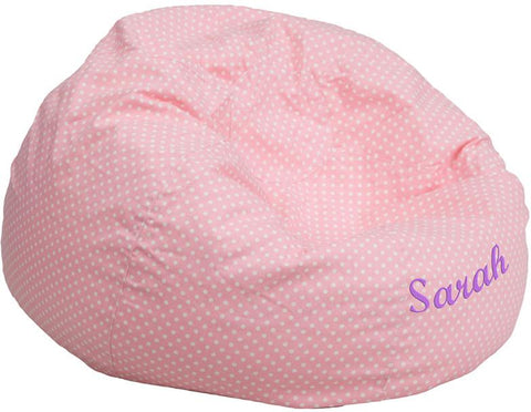 Flash Furniture DG-BEAN-LARGE-DOT-PK-TXTEMB-GG Personalized Oversized Light Pink Dot Bean Bag Chair - Peazz.com