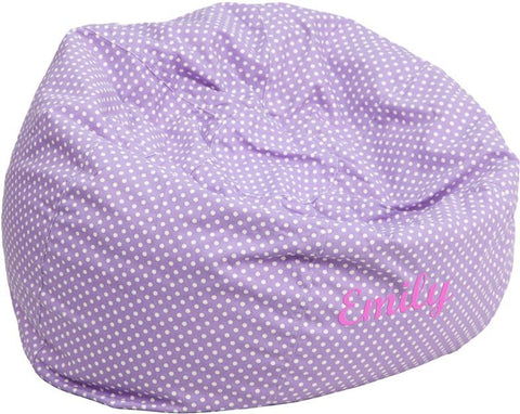 Flash Furniture DG-BEAN-LARGE-DOT-PUR-TXTEMB-GG Personalized Oversized Lavender Dot Bean Bag Chair - Peazz.com