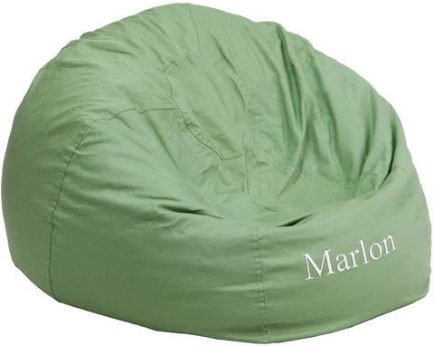 Flash Furniture DG-BEAN-LARGE-SOLID-GRN-TXTEMB-GG Personalized Oversized Solid Green Bean Bag Chair - Peazz.com