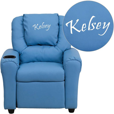 Flash Furniture DG-ULT-KID-LTBLUE-TXTEMB-GG Personalized Light Blue Vinyl Kids Recliner with Cup Holder and Headrest - Peazz.com