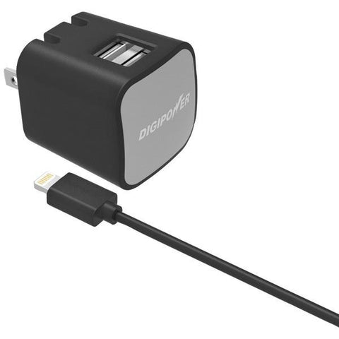 DIGIPOWER IS-AC2DL InstaSense 2.4-Amp Dual-USB Wall Charger with 5ft Lightning Cable - Peazz.com