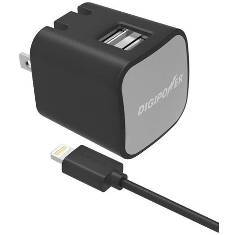 DIGIPOWER IS-AC3DL InstaSense 3.4-Amp Dual-USB Wall Charger with 5ft Lightning Cable - Peazz.com