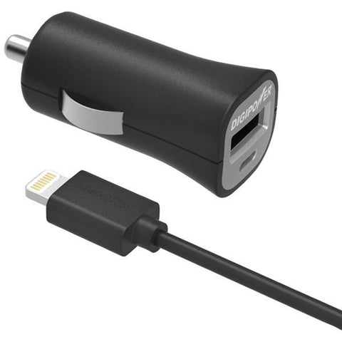 DIGIPOWER IS-PC2L InstaSense 2.4-Amp Single-USB Car Charger with 5ft Lightning Cable - Peazz.com