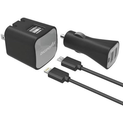 DIGIPOWER IS-PK2ML InstaSense 2.4-Amp Dual-Port USB Car Charger & Wall Charger with 5ft Lightning & Micro USB Cables - Peazz.com