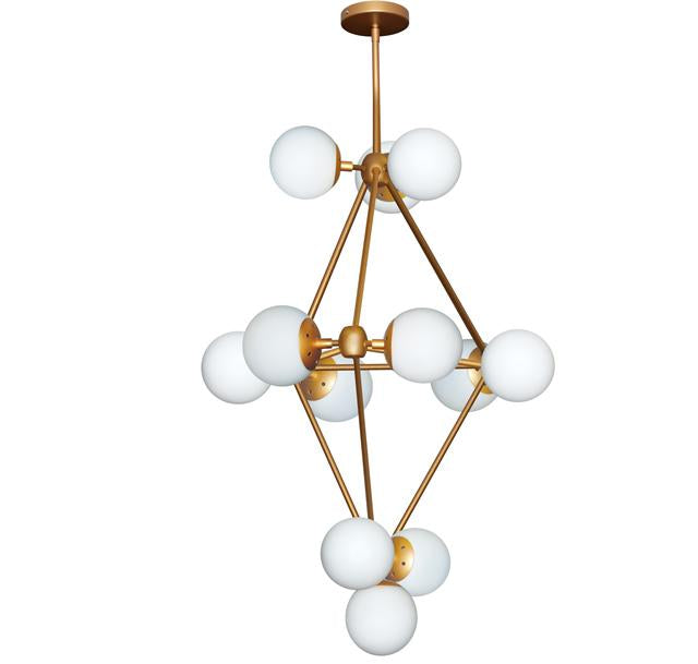 Dainolite DMI-3612C-GLD 12Lt Chandelier, Gold Finish w/White Glass Balls