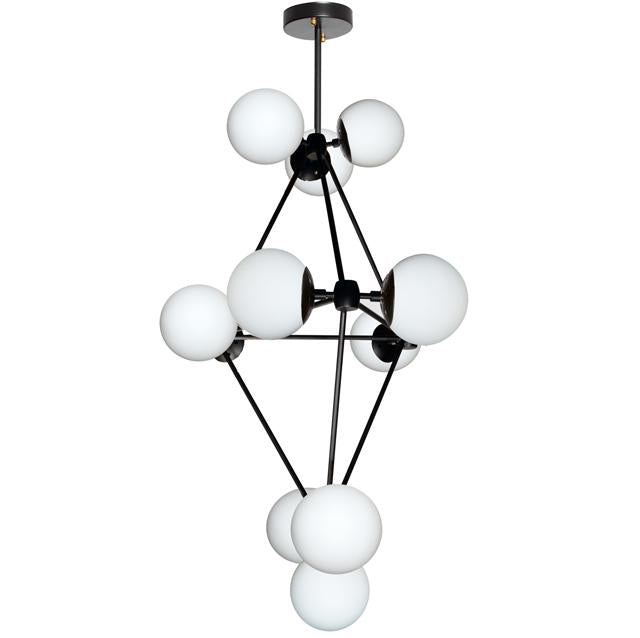 Dainolite DMI-3612C-WHBK 12LT Chandelier, Black Finish w/White Glass Balls