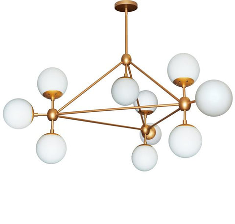 Dainolite DMI-4410C-GLD 10LT Chandelier Triangular w/White Glass, Gld