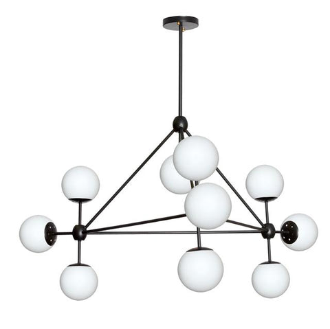 Dainolite DMI-4410C-WHBK 10LT Chandelier, Black Finish w/White Glass