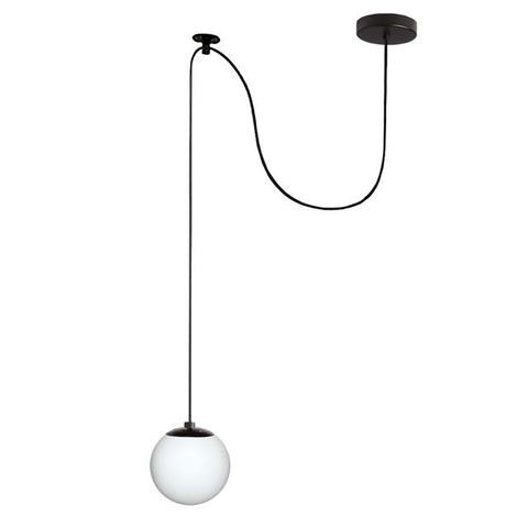 Dainolite DMI-61P-WHBK 1LT Pendant, Black Finish w/White Glass