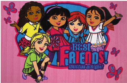Fun Rugs DO-22 5178 Dora Collection Best Friends Multi-Color - 51 x 78 in. - Peazz.com