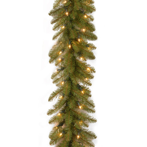 "National Tree DU-9ALO-1 9' x 10"" Dunhill Fir Garland with 100 Clear Lights"