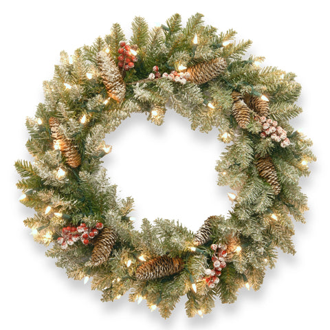 "National Tree DUF-300-24W-1 24"" Dunhill Fir Wreath with Snow, Red Berries, Cones and 50 Snow Lights"