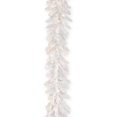 National Tree DUW-9ALO-1 9' X 10' Dunhill White Fir Garland with 100 Clear Lights