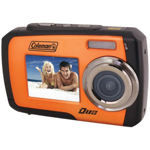 Coleman 2V7WP-O 14.0-Megapixel Duo Waterproof Dual Screen Digital Camera (Orange) - Peazz.com