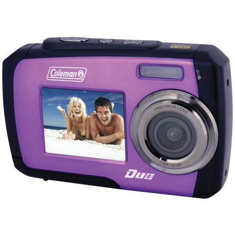 Coleman 2V7WP-P 14.0-Megapixel Duo Waterproof Dual Screen Digital Camera (Purple) - Peazz.com