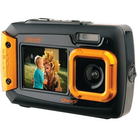 Coleman 2V9WP-O 20.0-Megapixel Duo2 Dual-Screen Waterproof Digital Camera (Orange) - Peazz.com