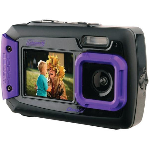Coleman 2V9WP-P 20.0-Megapixel Duo2 Dual-Screen Waterproof Digital Camera (Purple) - Peazz.com