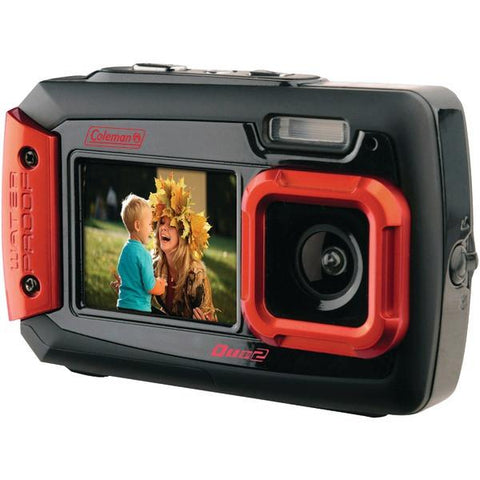 Coleman 2V9WP-R 20.0-Megapixel Duo2 Dual-Screen Waterproof Digital Camera (Red) - Peazz.com