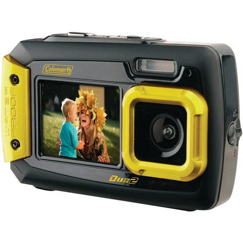 Coleman 2V9WP-Y 20.0-Megapixel Duo2 Dual-Screen Waterproof Digital Camera (Yellow) - Peazz.com