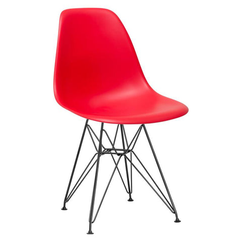 EdgeMod EM-104-BLK-RED-X2 Padget Side Chair in Black / Red(Set of 2)