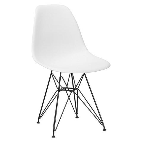 EdgeMod EM-104-BLK-WHI-X2 Padget Side Chair in Black / White (Set of 2)