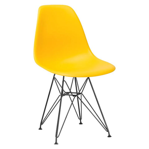 EdgeMod EM-104-BLK-YEL-X2 Padget Side Chair in Black / Yellow (Set of 2)