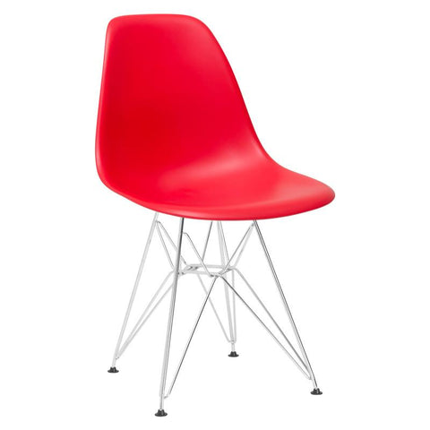 EdgeMod EM-104-CRM-RED Padget Side Chair in Red
