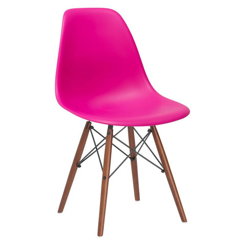 EdgeMod EM-105-WAL-FUS-X4 Vortex Side Chair Walnut Legs in Fuchsia (Set of 4)