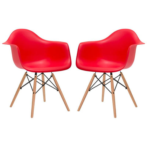 EdgeMod EM-110-NAT-RED-X2 Vortex Arm Chair in Red (Set of 2)