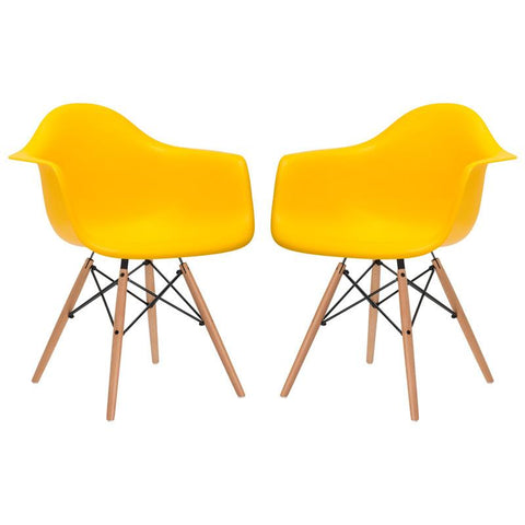 EdgeMod EM-110-NAT-YEL-X2 Vortex Arm Chair in Yellow (Set of 2)