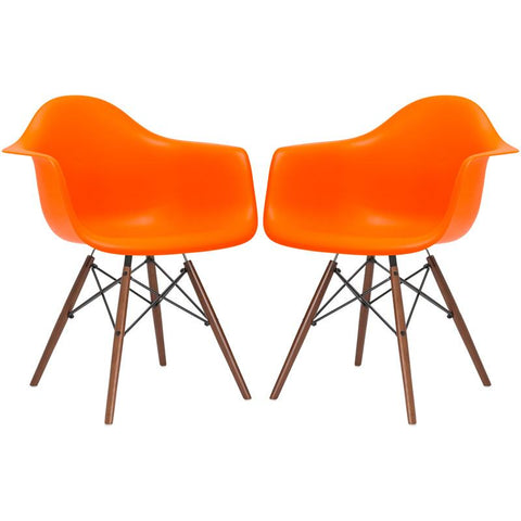 EdgeMod EM-110-WAL-ORA-X2 Vortex Arm Chair Walnut Leg in Orange (Set of 2)