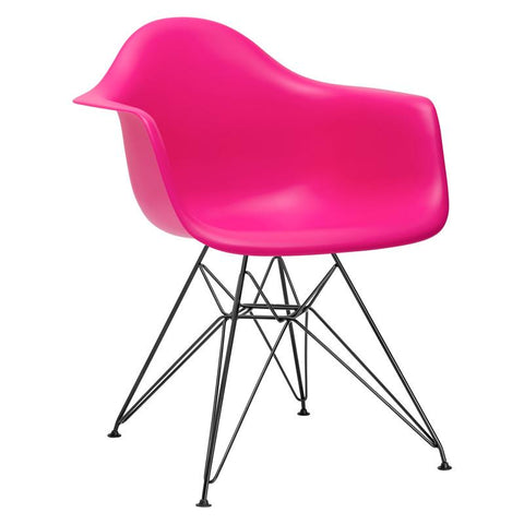 EdgeMod EM-111-BLK-FUS-X2 Padget Arm Chair with Black Legs in Fuchsia (Set of 2)