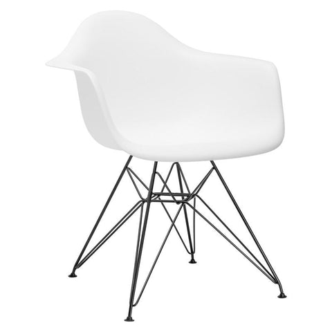 EdgeMod EM-111-BLK-WHI-X2 Padget Arm Chair with Black Legs in White (Set of 2)