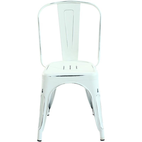 EdgeMod EM-112-DIS-WHI-X2 Trattoria Side Chair in Distressed White (Set of 2)