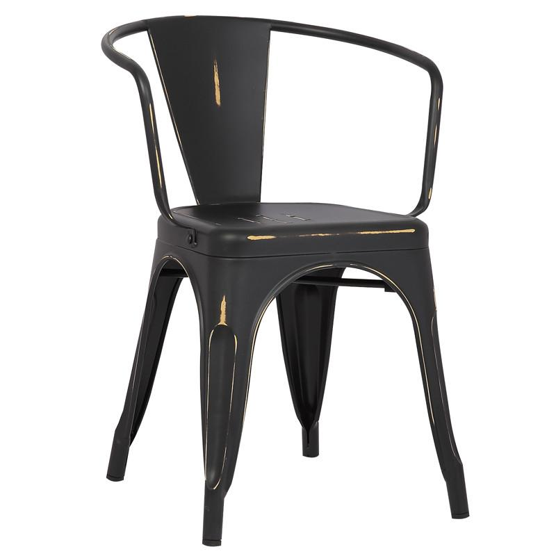 Arm Chair Distressed Black 19821 Product Photo