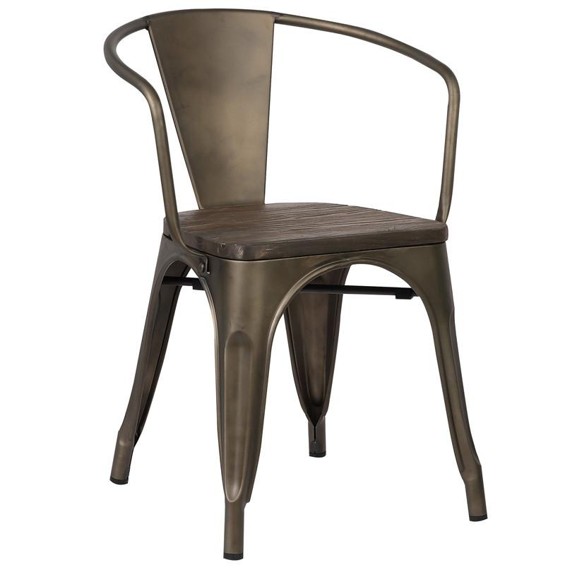 EdgeMod Trattoria Arm Chair Elm Wood Seat Bronze