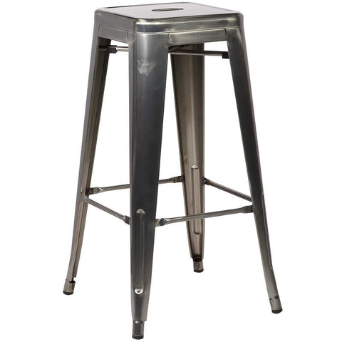 EdgeMod EM-126-POL Trattoria Bar Stool in Polished Gunmetal
