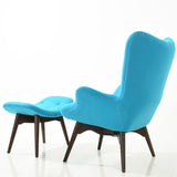 EdgeMod EM-136-BLU Auzzie Lounge Chair and Ottoman in Blue