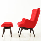 EdgeMod EM-136-RED Auzzie Lounge Chair and Ottoman in Red
