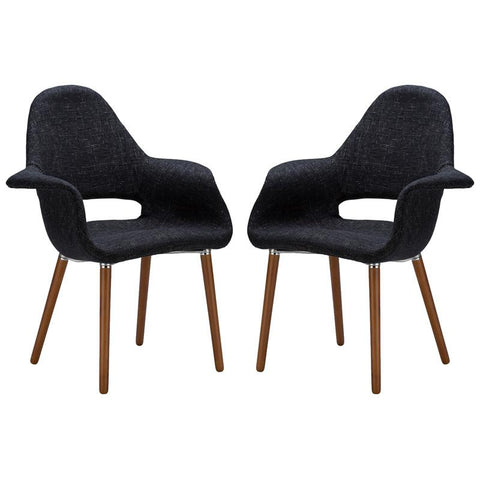 EdgeMod EM-141-BLK-X2 Barclay Dining Chair in Black (Set of 2)