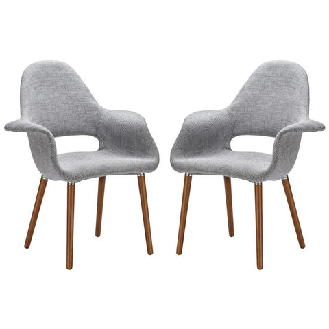 EdgeMod EM-141-LGR-X2 Barclay Dining Chair in Light Grey (Set of 2)