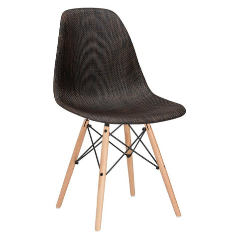 EdgeMod EM-146-NAT-COC Woven Vortex Dining Chair with Natural Legs in Coco