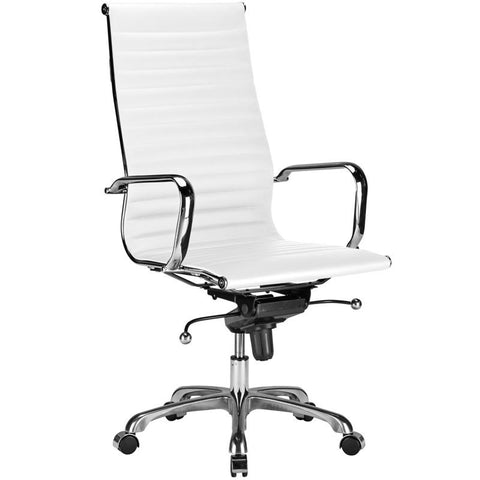 EdgeMod EM-182-WHI Ribbed High Back Office Chair in White
