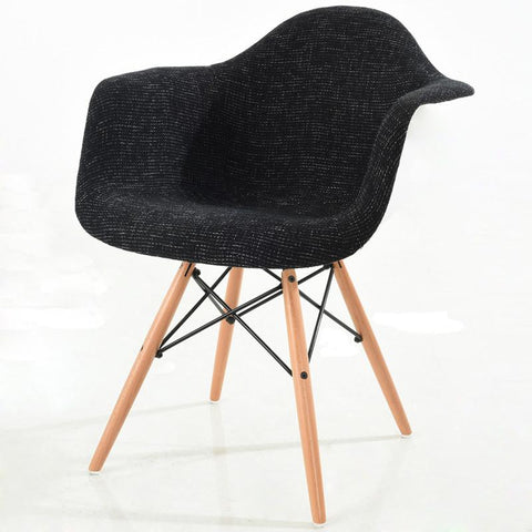 EdgeMod EM-194-NAT-BLK Vortex Padded Arm Chair with Natural Base in Black
