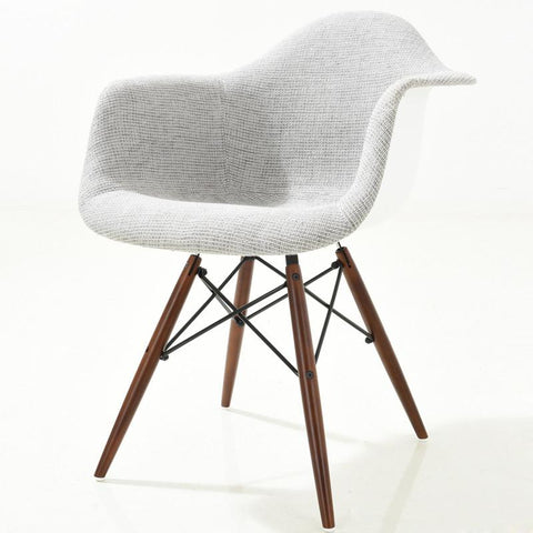 EdgeMod EM-194-WAL-LGR Vortex Padded Arm Chair with Walnut Base in Light Grey