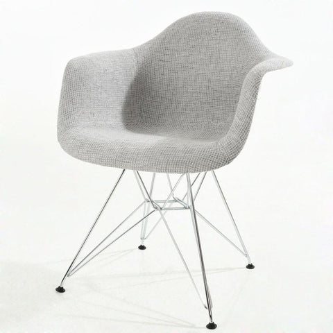 EdgeMod EM-223-CRM-LGR Padget Padded Arm Chair in Light Grey