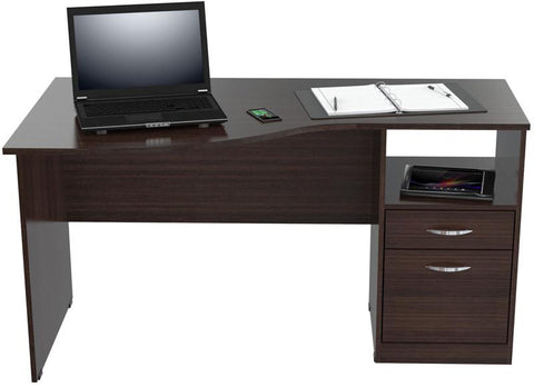 Inval America ES-2203 Espresso-Wengue Finish Curved Top Desk - Peazz.com - 1