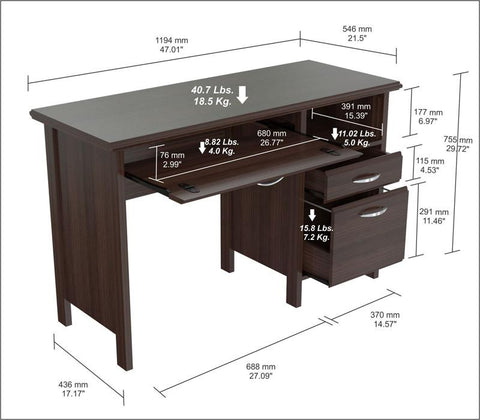 Inval America ES-2403 Espresso-Wengue Finish Chrome metal Soft form Computer Desk with Handles - Peazz.com - 1