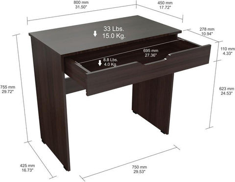 Inval America ES-2803 Espresso-Wengue Finish Writing Desk with Drawer - Peazz.com - 1